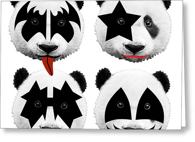 80s Pop Music Greeting Cards - Panda Kiss  Greeting Card by Mark Ashkenazi