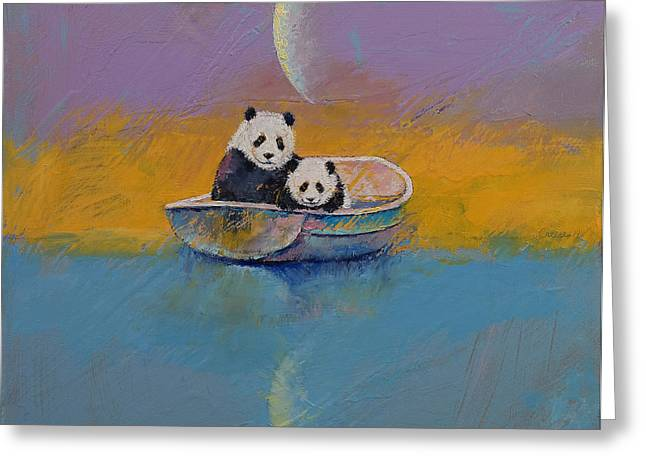 Humor Greeting Cards - Panda Lake Greeting Card by Michael Creese