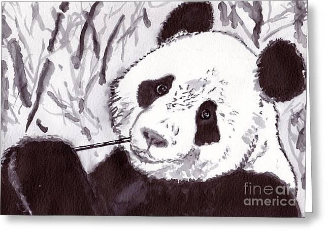Panda Greeting Card by Michael Rados