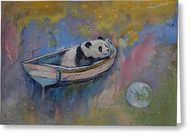Giant Panda Greeting Cards - Panda Moon Greeting Card by Michael Creese