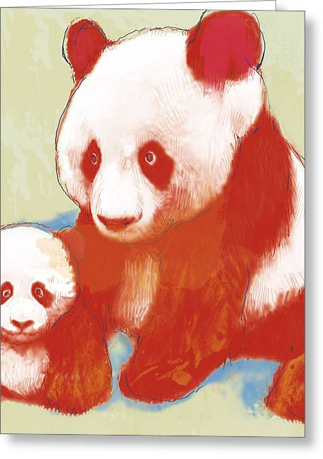 Distinguished Greeting Cards - Panda mum with baby - stylised drawing art poster Greeting Card by Kim Wang