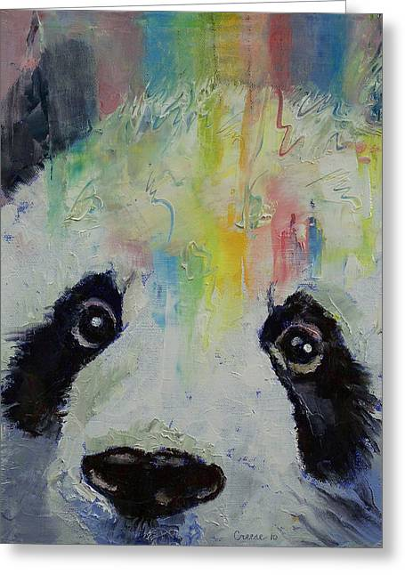 Arc-en-ciel Greeting Cards - Panda Rainbow Greeting Card by Michael Creese