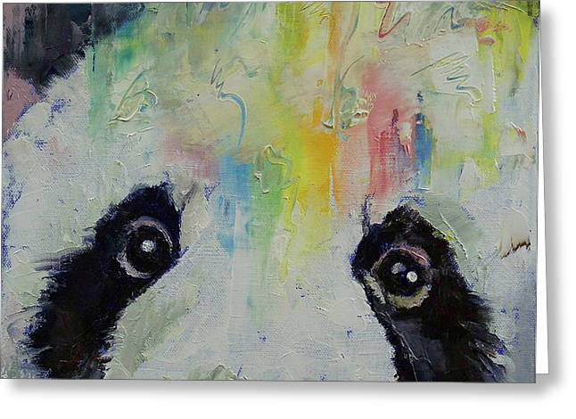 Panda Rainbow Greeting Card by Michael Creese