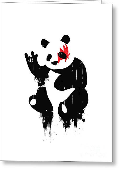 Hip Greeting Cards - Panda Rocks Greeting Card by Budi Kwan