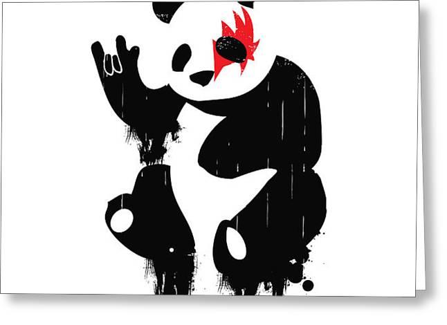 Panda Rocks Greeting Card by Budi Satria Kwan
