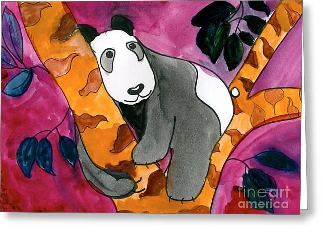 Panda Bear Greeting Cards - Panda Greeting Card by Roxanne Hanson Age Eleven