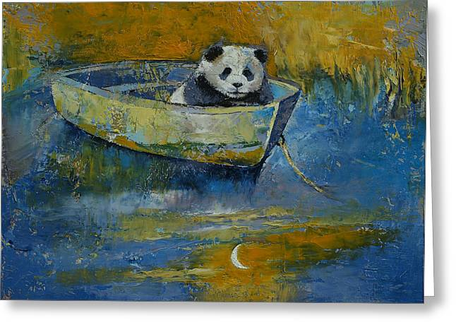Bateau Greeting Cards - Panda Sailor Greeting Card by Michael Creese