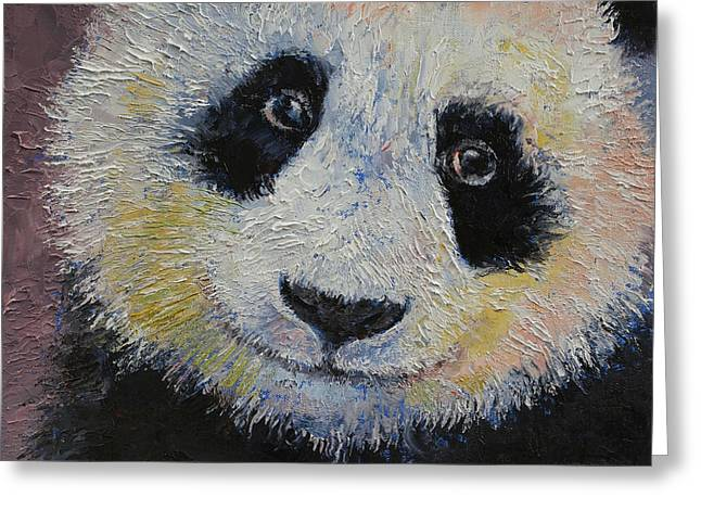 Michael Sweet Greeting Cards - Panda Smile Greeting Card by Michael Creese