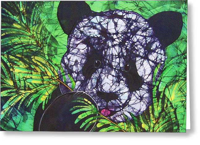 Bears Tapestries - Textiles Greeting Cards - Panda Snack Greeting Card by Kay Shaffer