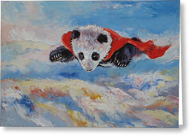 Giant Panda Greeting Cards - Panda Superhero Greeting Card by Michael Creese