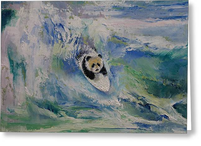 Surfer Art Greeting Cards - Panda Surfer Greeting Card by Michael Creese