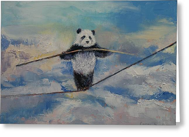 Cuddly Greeting Cards - Panda Tightrope Greeting Card by Michael Creese