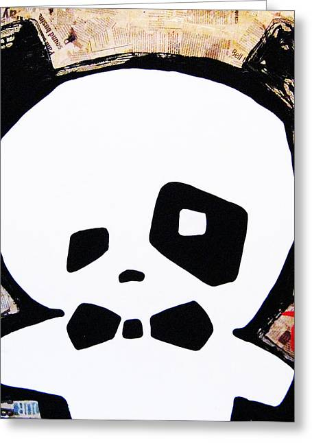 Haitian Mixed Media Greeting Cards - Panda Greeting Card by Voodo Fe Culture