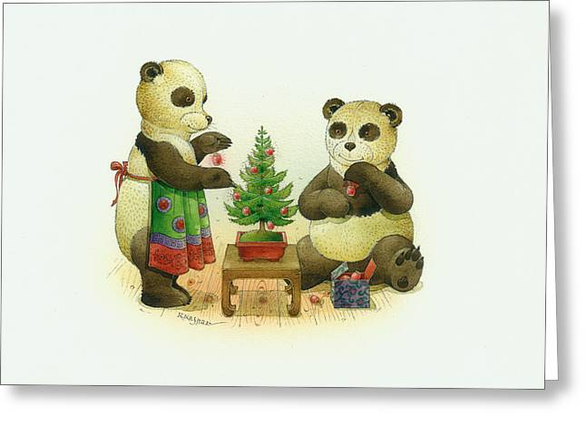 Winter Trees Drawings Greeting Cards - Pandabears Cristmas 02 Greeting Card by Kestutis Kasparavicius