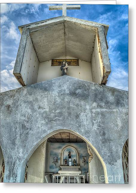 Crucifix Greeting Cards - Pandanon Island Chapel Greeting Card by Adrian Evans