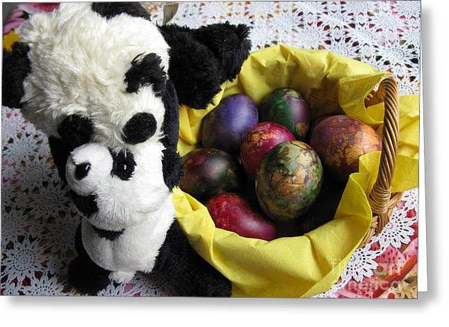 Pandas Celebrating Easter Greeting Card by Ausra Huntington nee Paulauskaite