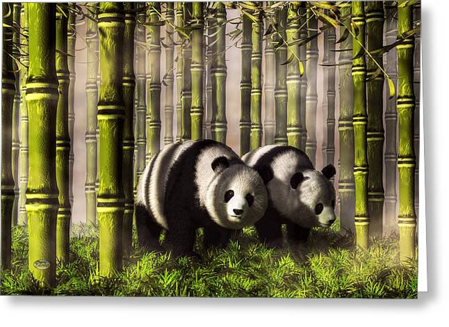 Yang Digital Art Greeting Cards - Pandas in a Bamboo Forest Greeting Card by Daniel Eskridge