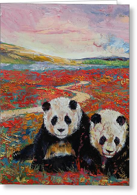 Giant Art Greeting Cards - Pandas Greeting Card by Michael Creese