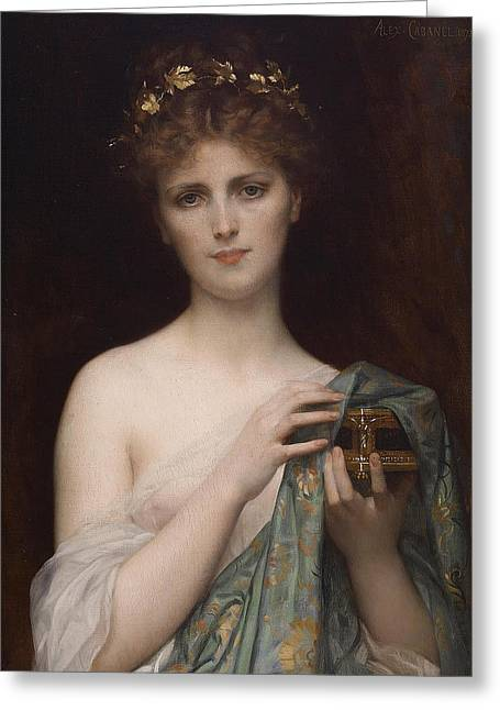 Alexandre Greeting Cards - Pandora Greeting Card by Alexandre Cabanel
