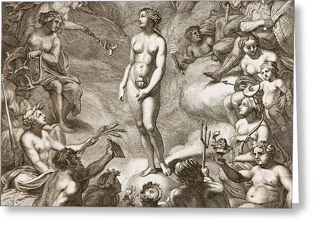 Pandoras Box, 1730 Greeting Card by Bernard Picart
