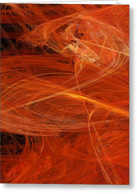 Geometric Digital Art Greeting Cards - Panel 1 Of 5 Dancing Flames 2 H Pentaptych - Abstract - Fractal Art Greeting Card by Andee Design