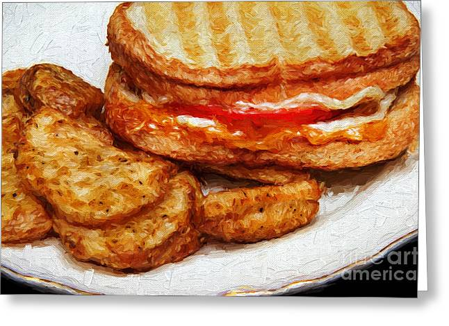 Deli Greeting Cards - Panini Sandwich And Potato Wedges 3 Greeting Card by Andee Design