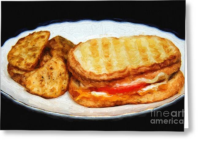 Deli Greeting Cards - Panini Sandwich And Potato Wedges 1 Greeting Card by Andee Design