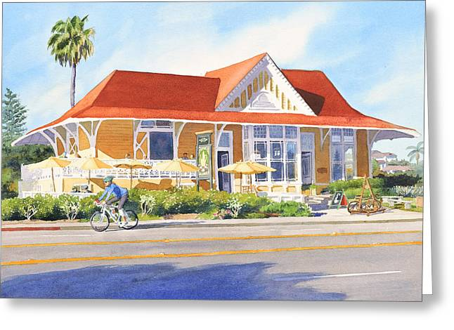 Buildings Paintings Greeting Cards - Pannikin Encinitas Greeting Card by Mary Helmreich