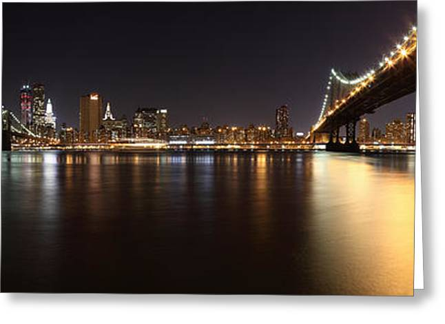 Nyc Pyrography Greeting Cards - Pano Manhattan Large Greeting Card by Paslier Morgan