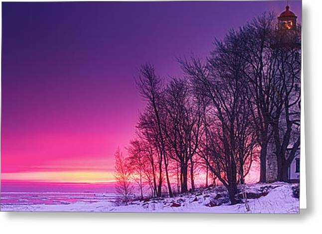 Lighthouse At Sunset Greeting Cards - Pano of Pointe Aux Barques Greeting Card by Todd Bielby