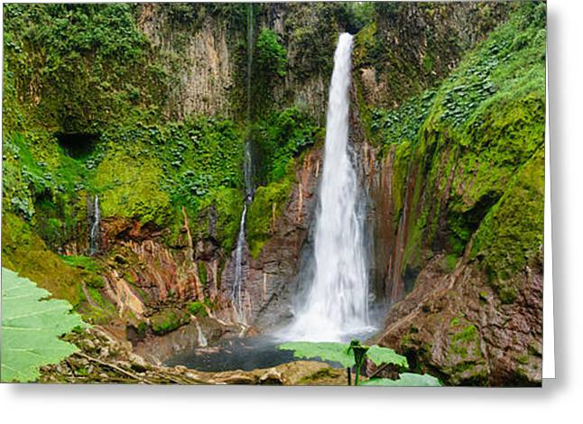 Waterfalls Greeting Cards - Pano Tropical waterfall in volcanic crater Greeting Card by Oscar Gutierrez