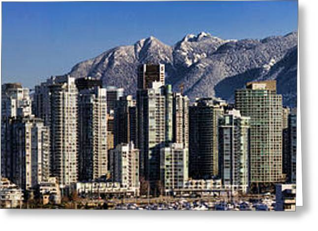 False Greeting Cards - Pano Vancouver Snowy Skyline Greeting Card by David Smith