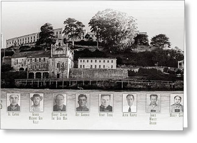 Nicholas Greeting Cards - Panorama Alcatraz Infamous Inmates Black and White Greeting Card by Scott Campbell