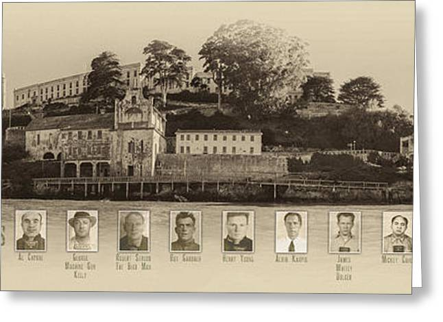 Nicholas Greeting Cards - Panorama Alcatraz Infamous Inmates Sepia Greeting Card by Scott Campbell