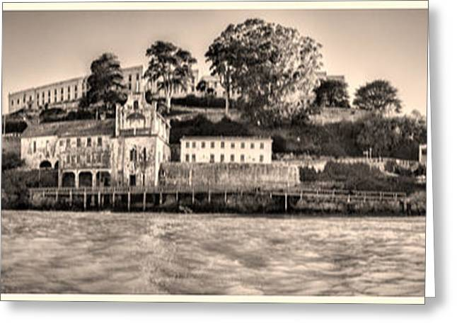 Nicholas Greeting Cards - Panorama Alcatraz Shaky Sepia Greeting Card by Scott Campbell