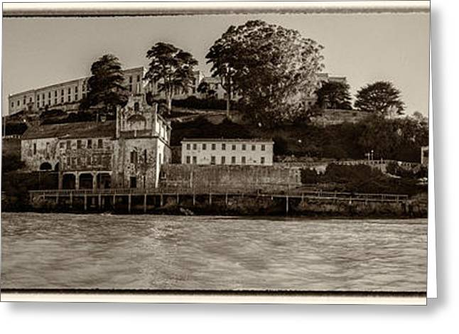 Panorama Alcatraz Torn Edges Greeting Card by Scott Campbell