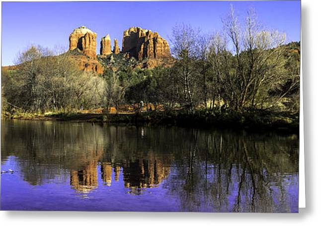 Red Rock Crossing Photographs Greeting Cards - Panorama at Red Rocks Crossing in Sedona AZ Greeting Card by Teri Virbickis