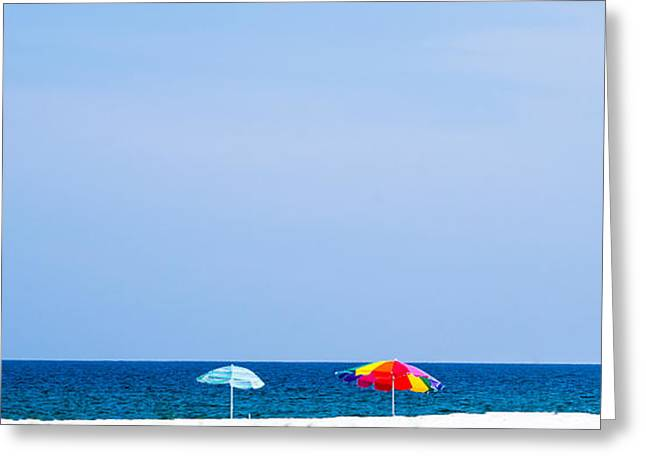 Duplicate Greeting Cards - Panorama Beach Umbrellas  Greeting Card by Shelby  Young