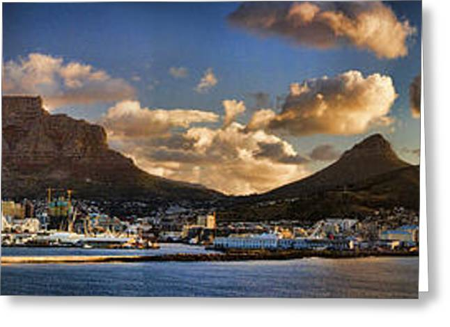 Cruising Photographs Greeting Cards - Panorama Cape Town Harbour at Sunset Greeting Card by David Smith
