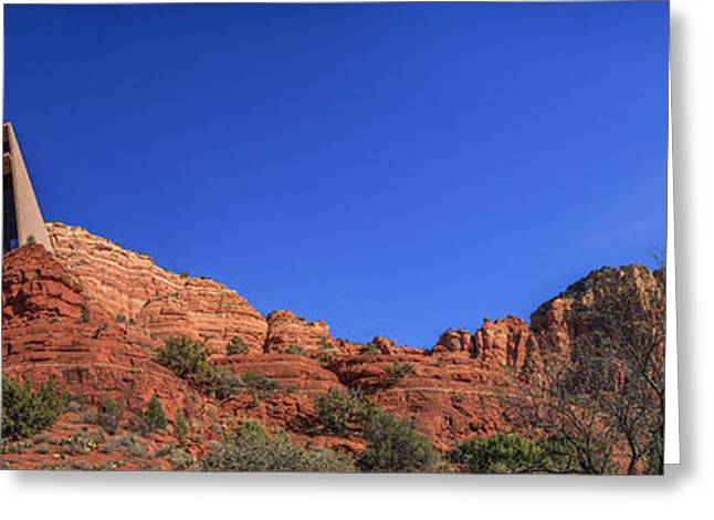 Famous Photographer Greeting Cards - Panorama Chapel of the Holy Cross Sedona AZ Greeting Card by Scott Campbell