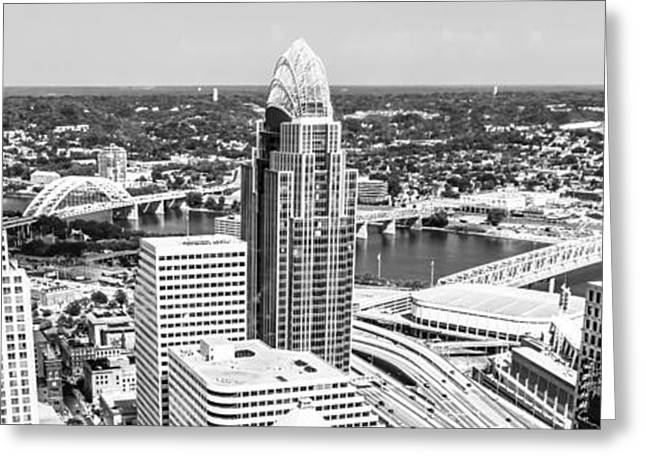 Black And White Photos Greeting Cards - Panorama Cincinnati Skyline Aerial Picture  Greeting Card by Paul Velgos