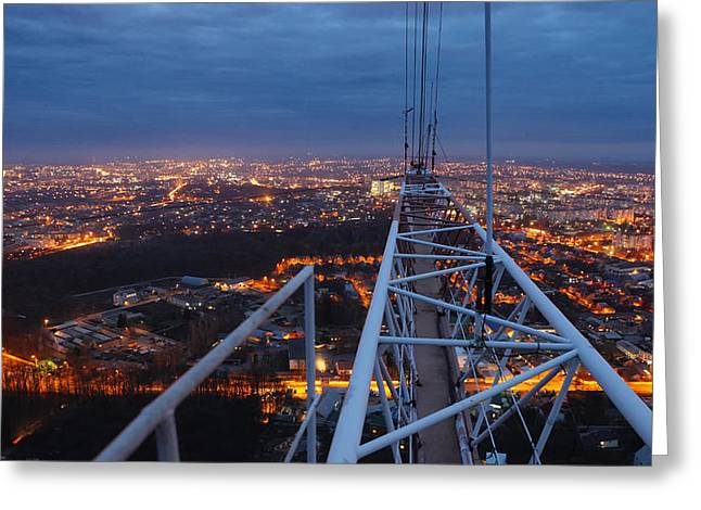Night Lamp Greeting Cards - Panorama from Vinnytsya TV tower 4 Greeting Card by Zoriy Fine