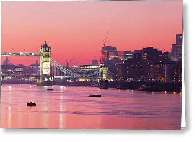 Charing Cross Bridge Greeting Cards - Panorama - London Skyline Greeting Card by Pg Reproductions