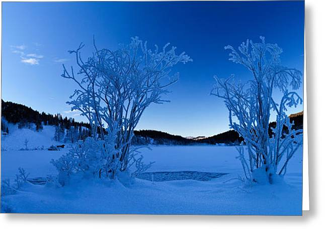 Iceflower Greeting Cards - Panorama of a frozen lake Greeting Card by Fabian Roessler