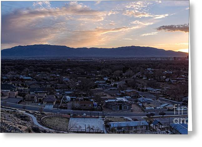 Sandias Greeting Cards - Panorama of Albuquerque and Sandia Mountain at Sunrise from Pat Hurley Park - Albuquerque New Mexico Greeting Card by Silvio Ligutti