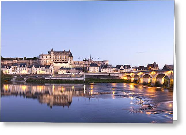 Chateau Greeting Cards - Panorama of Amboise Loire Valley France Greeting Card by Colin and Linda McKie
