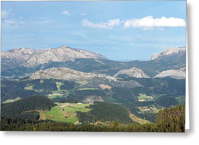 Mountain Valley Greeting Cards - Panorama of Arratia valley in basque country with mountains and  Greeting Card by Mikel Martinez de Osaba