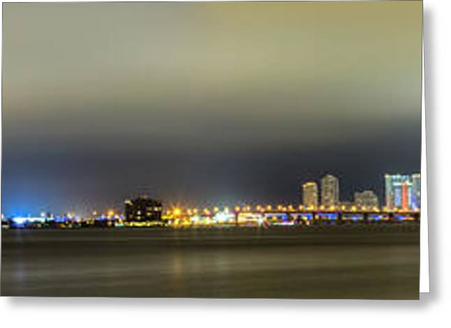 Brickell Greeting Cards - Panorama of Biscayne Bay in Miami Florida Greeting Card by Andres Leon