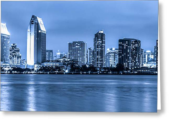 Print Photographs Greeting Cards - Panorama of Blue San Diego Skyline at Night Greeting Card by Paul Velgos