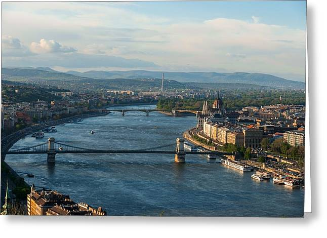 Famous Bridge Pyrography Greeting Cards - Panorama of budapest from Mount Gellert Greeting Card by Oliver Sved